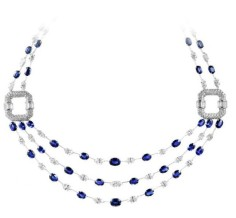 45 marquise-shaped diamonds (17.25ctw), 44 oval-shaped sapphires (37.04ctw) accented by round brilliant and banquette diamonds set in platinum.