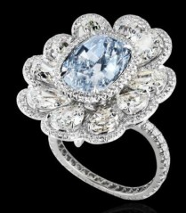 5.85-carat fancy light blue diamond accented by 10 pear-shaped diamonds (5.96ctw) mounted on platinum.