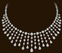 23 pear-shaped diamonds (14.18ctw) 128 round brilliant diamonds (28.65ctw) set in platinum.