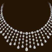 23 pear-shaped diamonds (14.18ctw) 128 round brilliant diamonds (28.65ctw) set in platinum.