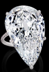 30.15-carat pear-shaped diamond accented by diamond melee and on a platinum setting.