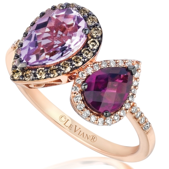 Le Vian 14K Strawberry Gold Raspberry Rhodolite and Cotton Candy Amethyst Ring with .35 Carat Chocolate and Vanilla Diamonds