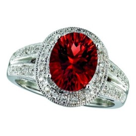 14K White Gold .18 Carat Total Weight Oval Garnet and Diamond Ring
