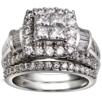 14K White Gold 3.00 Ctw Quad Bridal Set