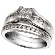 14K White Gold 1.00 Ctw Quad Bridal Set