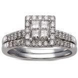 14K White Gold .62 Ctw Quad Bridal Set