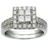 14K White Gold 1.24 Ctw Quad Bridal Set