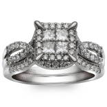 10K White Gold 1.06 Ctw Princess Cut Quad Bridal Set