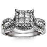 10K White Gold 1.06 Ctw Princess Cut Quad Bridal Set