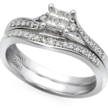 10K White Gold .25 Ctw Princess Cut Quad Bridal Set