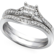 10K White Gold .25 Ctw Princess Cut Quad Bridal Set
