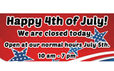 Happy 4th of July! We are closedtoday!